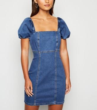 New Look Petite Denim Puff Sleeve Dress