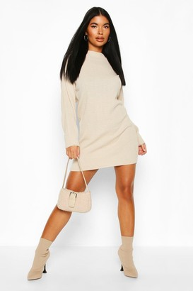 boohoo Petite Knitted Rib Roll Neck Sweater Dress