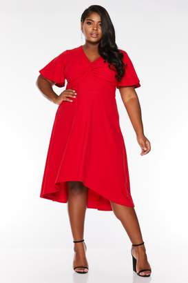 Quiz Curve Red Knot Front Dip Hem Midi Dress