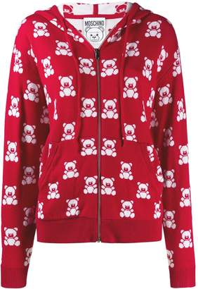 Moschino Jacquard Teddy Bear Zipped Hoodie