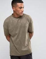 Religion Faux Suede T-Shirt in Drop Shoulder