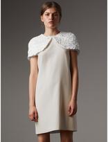 Burberry Silk Shift Dress with Detachable Paillette Cape