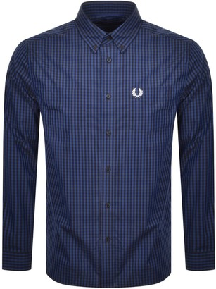 Fred Perry Four Colour Gingham Shirt Blue