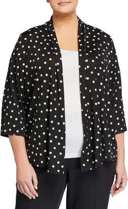 Kasper Plus Plus Size Dot Printed Ribbed Knit Cardigan