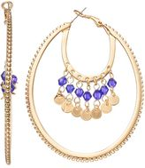 JLO by Jennifer Lopez Blue Beaded Layered Oval Hoop Earrings
