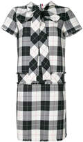 Thom Browne Short Sleeve Shift Dreshort Sleeve With Back Tie & Fray In Large Buffalo Check Wool/ Cotton Sable