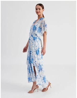 Basque Ruffle Sleeve Maxi Dress