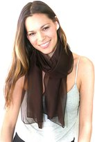 NYFASHION101 Women's Versatile Solid Sheer Chiffon Scarf Headwear - Orange