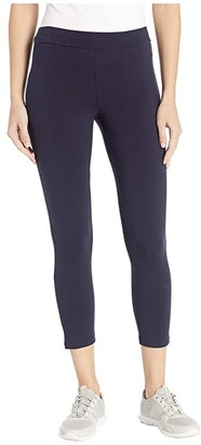 Hue Wide Waistband Blackout Cotton Capri Leggings (Black) Women's Casual Pants