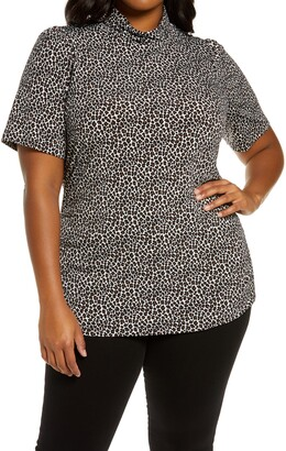 MICHAEL Michael Kors Animal Print Turtleneck Short Sleeve Top
