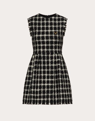Valentino Over Check Tweed Vgold Short Dress Women Black/ivory Virgin Wool 63%, Acrylic 25%, Polyester 9% 38