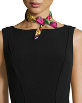Anna Coroneo Pineapples Silk Square Scarf, Yellow/Pink