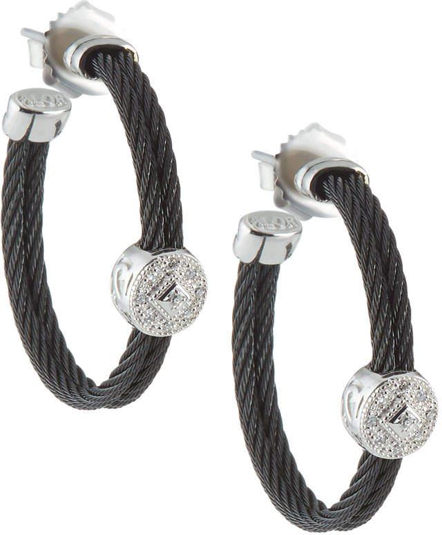 Alor Cable Hoop Earrings w/ Diamonds