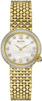 Bulova Diamonds Womens Diamond-Accent Gold-Tone Stainless Steel Mesh Watch 98R218