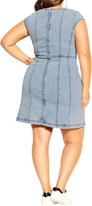 City Chic Sweetheart Neck Denim Minidress