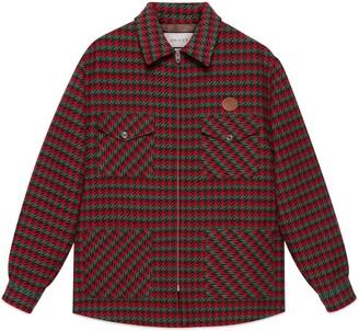 Gucci Prince of Wales zip-up wool shirt