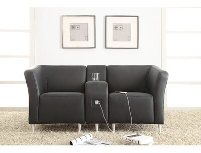 """Thumbnail for your product : Lorell 30"""" W Lounge Chair with Metal Frame Seat Color: Black, Seat Material: Leather"""