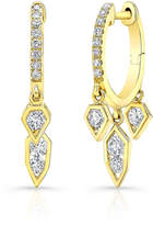 Ron Hami Birds of Paradise 14k Diamond Huggie Dangle Earrings