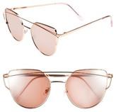 BP Women's 51Mm Thin Brow Angular Aviator Sunglasses - Gold/ Purple Mirror