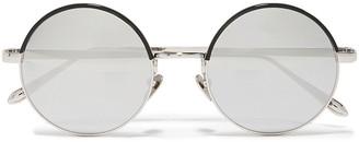 Linda Farrow Round-frame Silver-tone And Acetate Mirrored Sunglasses