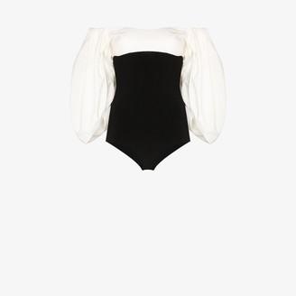 A.W.A.K.E. Mode Off-The-Shoulder Puff Sleeve Bodysuit