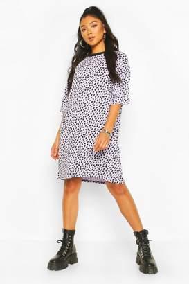 boohoo Dalmatian Print Oversized T-Shirt Dress