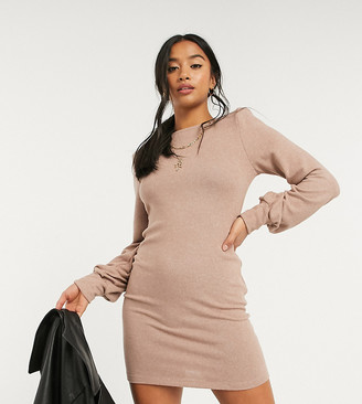 ASOS DESIGN Petite super soft mini dress with padded shoulders in brown