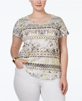 Style&Co. Style & Co. Plus Size Printed Embellished T-Shirt, Only at Macy's