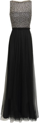 Mikael Aghal Belted Embellished Tulle Gown