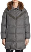 Brunello Cucinelli Reversible Fox Fur & Flannel Puffer Coat