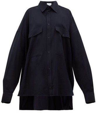 Raey Oversized Chest-pocket Wool Shirt - Navy