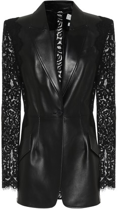 Alexander McQueen Lace-trimmed leather blazer