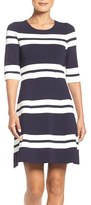 Eliza J Petite Women's Stripe Stretch Knit Fit & Flare Dress