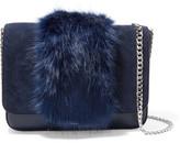 Loeffler Randall Lock Faux Fur-trimmed Leather And Suede Shoulder Bag - Navy