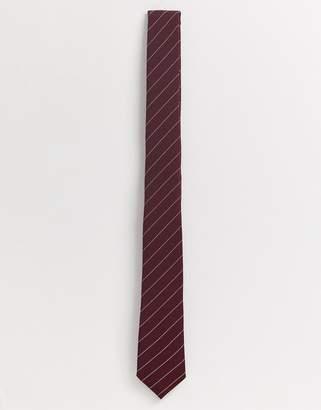 Asos Design DESIGN slim tie in burgundy stripe-Red