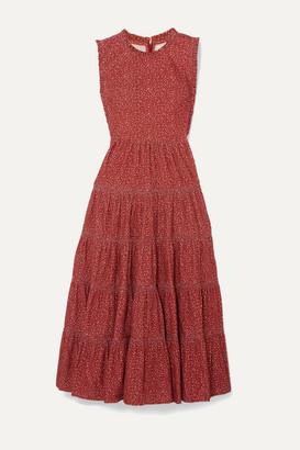 DÔEN Raven Tiered Floral-print Cotton-corduroy Midi Dress - Burgundy