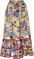 Stella Jean Midi Contrast Madras Skirt