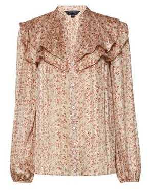 Dorothy Perkins Womens Blush Chiffon Floral Print Long Sleeve Shirt