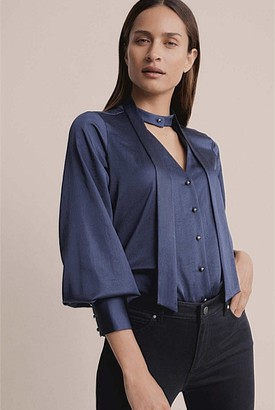 Witchery Tie Button Front Blouse