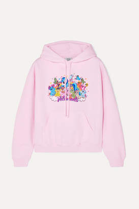 Vetements Cropped Printed Cotton-jersey Hoodie - Pink