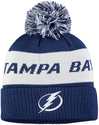 adidas Men's Blue Tampa Bay Lightning Culture Head Name Cuffed Knit Hat with Pom