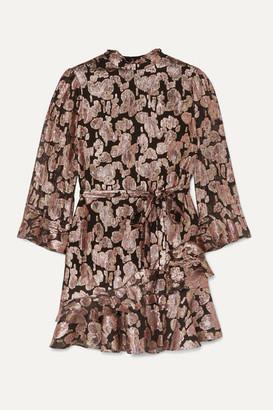 Saloni Marissa Ruffled Metallic Silk-blend Jacquard Mini Dress - Black