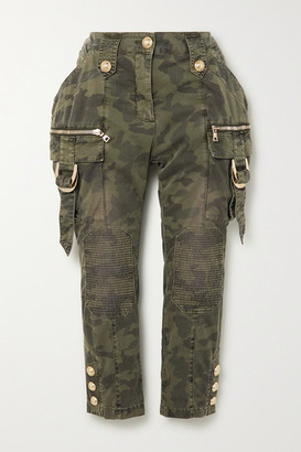 Balmain Cropped Button-embellished Camouflage-print Denim Slim-leg Pants - Army green