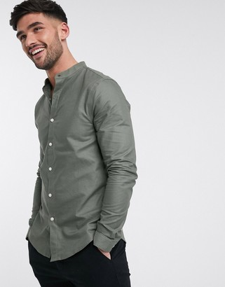 New Look long sleeve grandad oxford shirt in khaki
