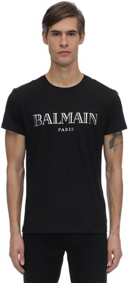 Balmain Printed Logo Cotton Jersey T-shirt