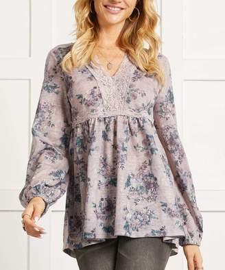 Suzanne Betro Women's Tunics 101LAVENDER - Lavender & Blue Floral Lace-Trim Empire-Waist Tunic - Women & Plus