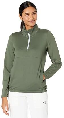 Puma Cloudspun 1/4 Zip (Thyme) Women's Clothing
