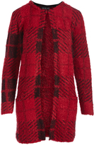 August Silk Red Plaid Textured Long Open Cardigan