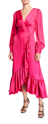 Sachin + Babi Ruby V-Neck Blouson-Sleeve High-Low Ruffle Dress