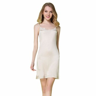 Idealady Women's Natural Mulberry Silk Sleepwear Lace Trim Full Slips for Under Dresses Nightdress Chemise (L